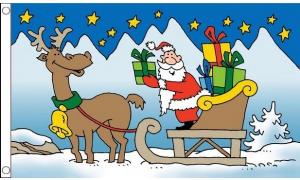 Santa Sleigh Large Christmas Flag - 5' x 3'